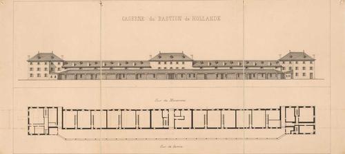 Album de Genève en 1850: caserne du bastion de Hollande (élévation et plan)