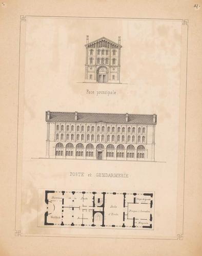 Album de Genève en 1850: poste et gendarmerie (façade, élévation latérale et plan)