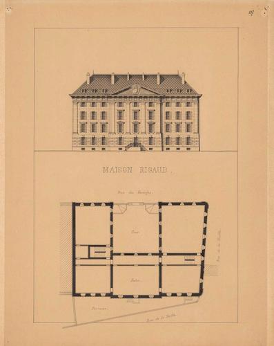 Album de Genève en 1850: maison Rigaud, ancienne caserne (élévation et plan)