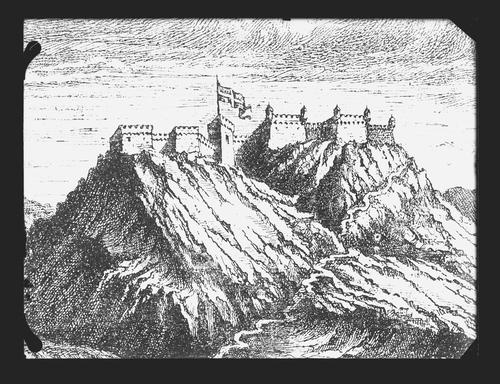 Haute-Savoie, les Allinges: vue ancienne du château (reproduction)