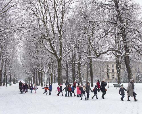 Genève, le parc des Bastions sous la neige