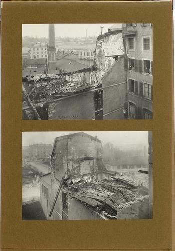 Genève, rue de l'Arquebuse: le magasin de décors du Théâtre incendié dans la nuit du 13 au 14 janvier 1897