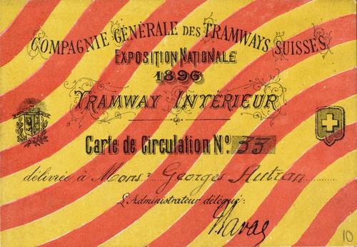 Genève, Exposition nationale: tramway (carte de circulation)