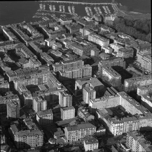 Genève, vue aérienne du quartier des Eaux-Vives