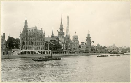 Paris, souvenirs de l'exposition universelle: les pavillons de la Belgique, de la Norvège, de l'Allemagne, de l'Espagne, de Monaco et de la Serbie