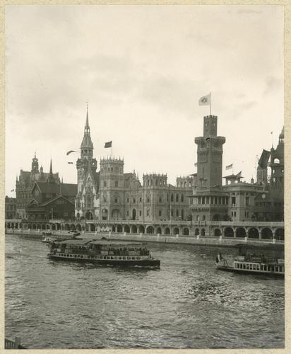Paris, souvenirs de l'exposition universelle: les pavillons de la Belgique, de la Norvège, de l'Allemagne, de l'Espagne et de Monaco