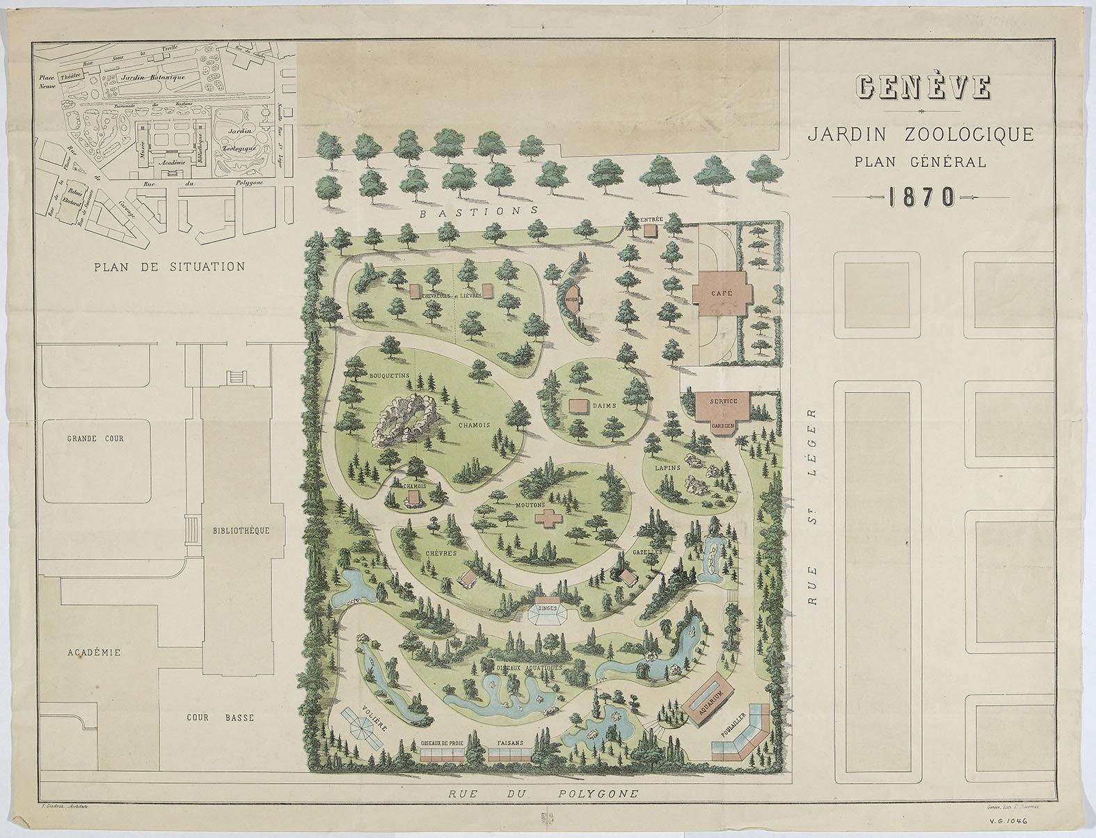 Genève, promenade des Bastions: plan du jardin zoologique