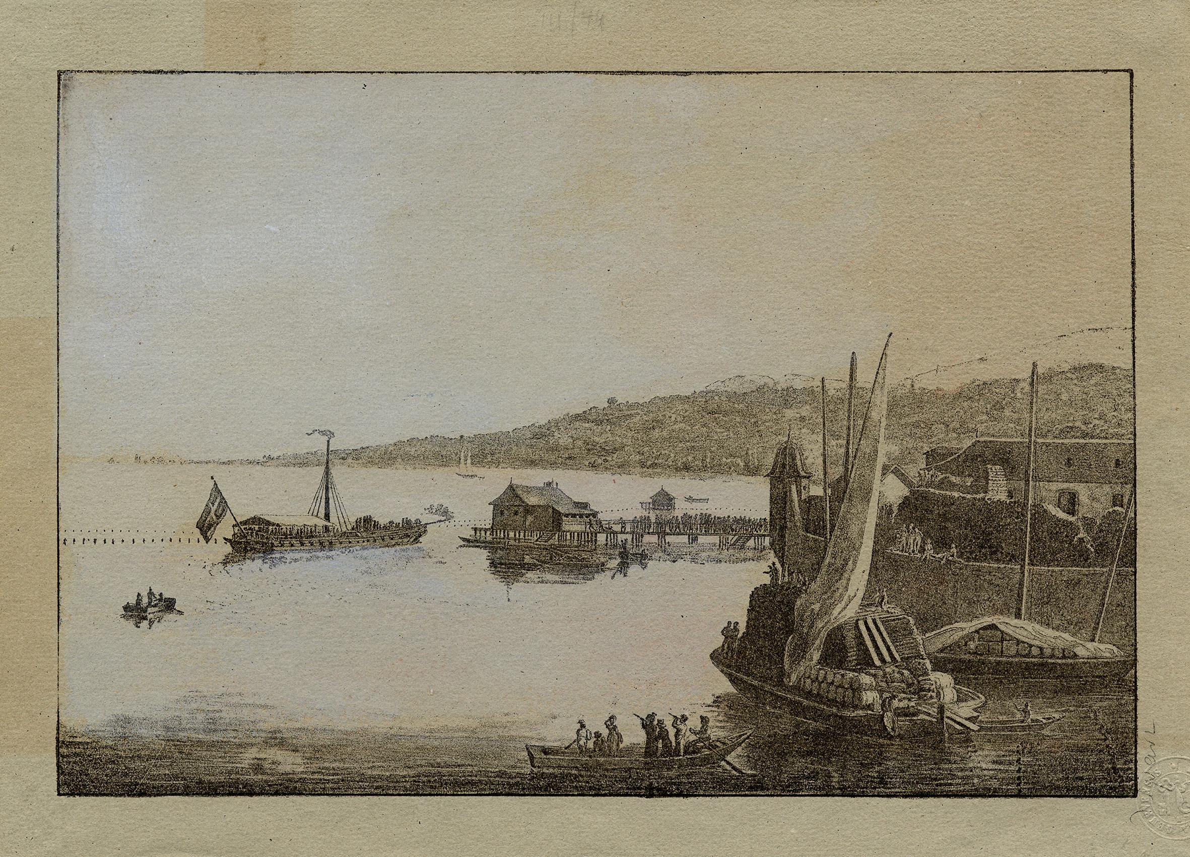 Genève, le port et le premier bateau à vapeur: le Guillaume Tell