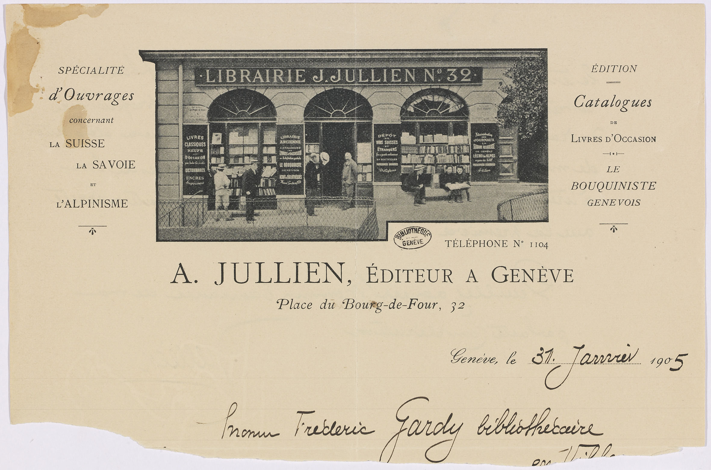 Genve Place Du Bourg De Four En Tte De Lettre DA Jullien