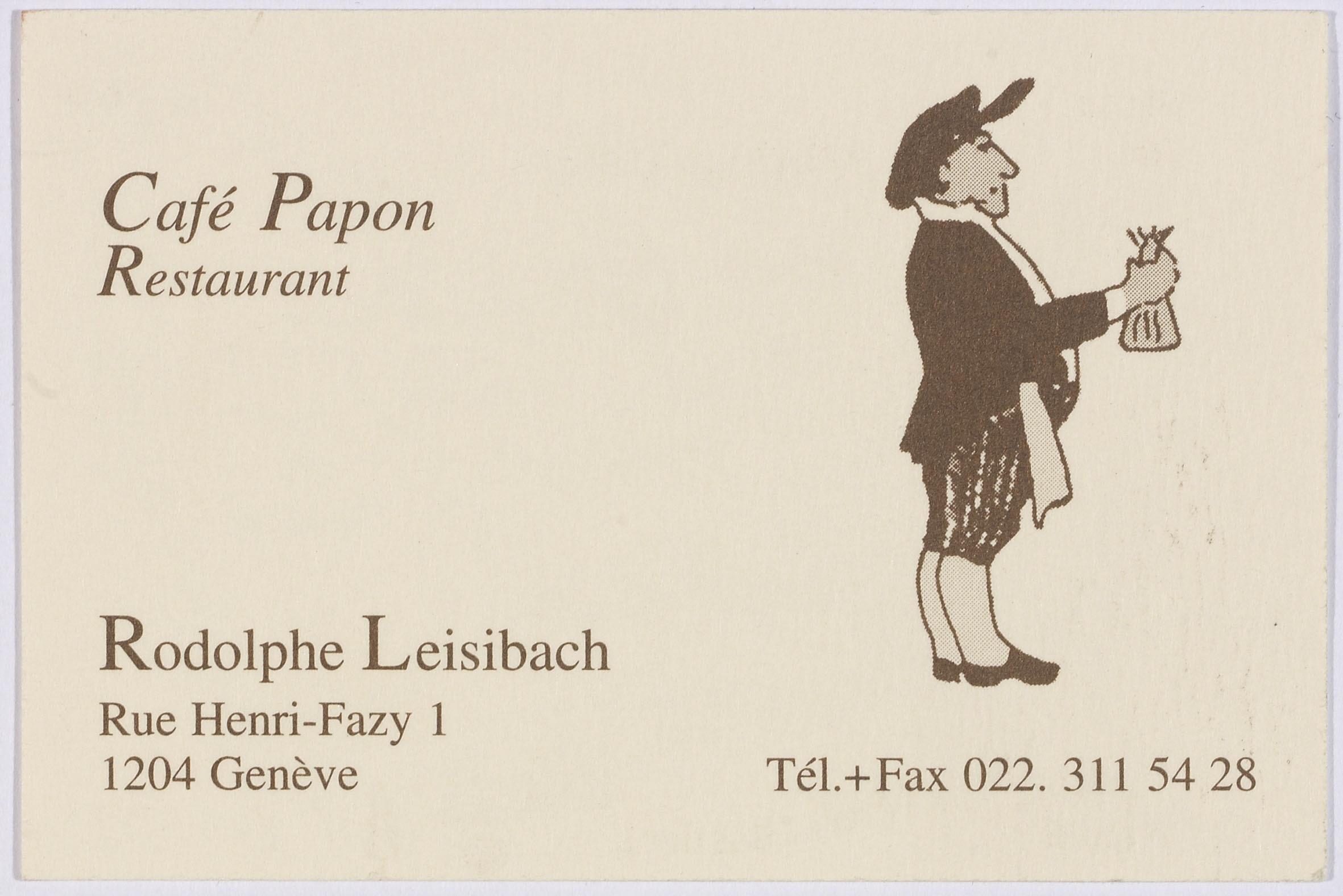Geneve Carte De Visite Du Cafe Papon