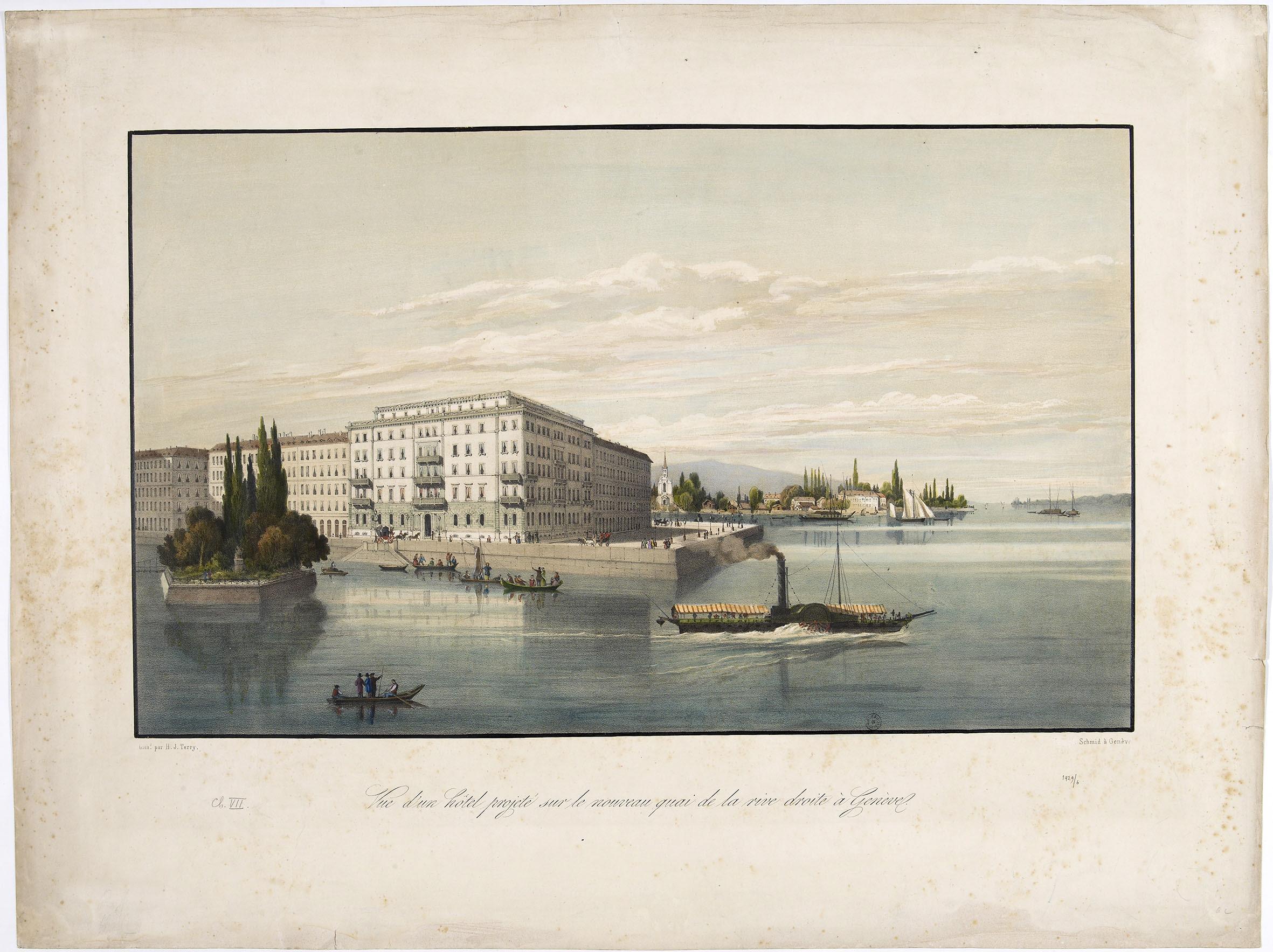 Genève, l'île Rousseau et la rive droite